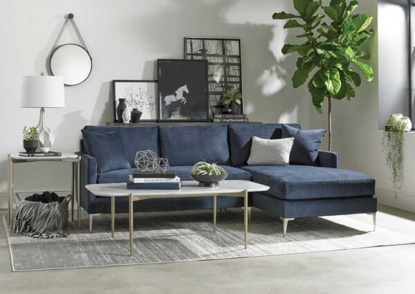 cth sherrill occasional craftsmanship living room navy blue and white sofa and coffee table