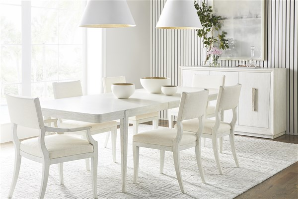 vanguard dining room white table and chairs set with hanging lamps minimalist