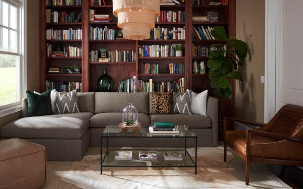the mt company living room with bookshelf, sofa, coffee table and hanging lamp