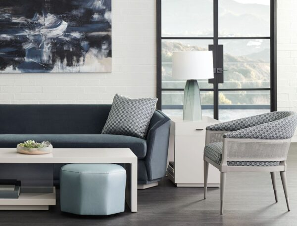 caracole furniture modern expression sofa, chair, room, blue and neutral color palette with coffee table