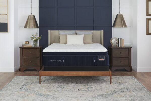 stearns and foster reserve hepburn mattress navy blue and white bedroom with hanging lamps