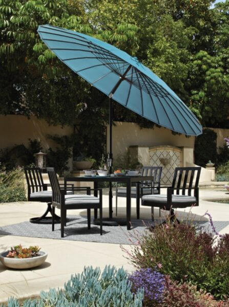 treasure garden blue umbrella outdoor dining table and chairs set