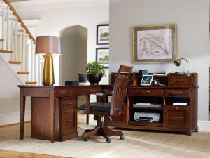 hooker furniture wendover traditional office room with stairs and wooden furniture