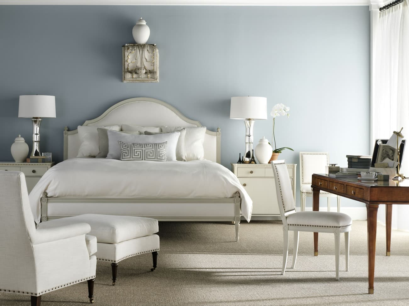 Bedroom-Simone-Bed-Hickory-Chair-Traditional