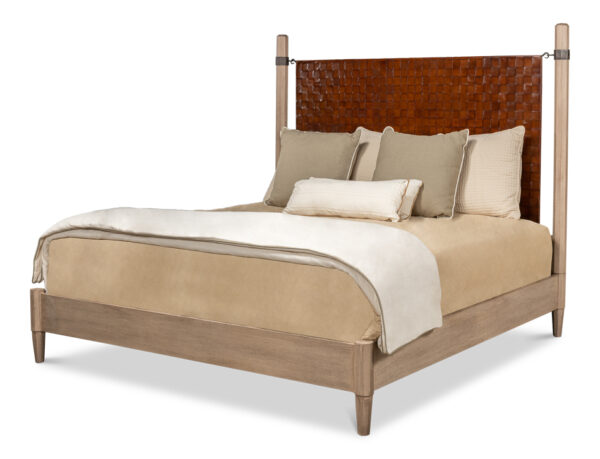 sarreid Vineyards King Bed Pine Veneer Brown Eclectic with hand woven leather