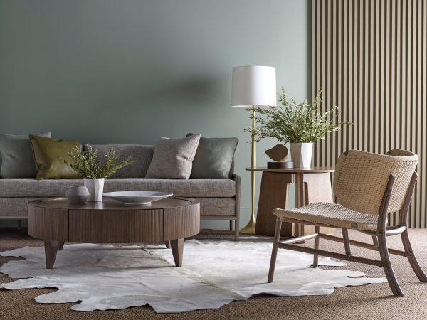 mcguire living room rattan chair, sofa, coffee table with rug