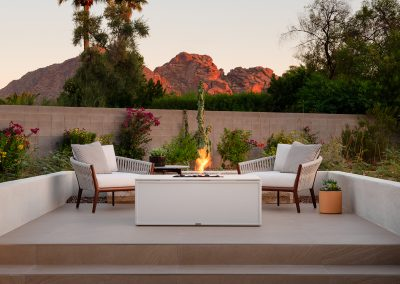 brown jordan small rectangle fire table and lounge chairs outdoor